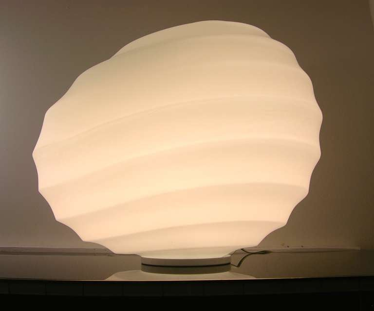 Hand-Painted Toso Vintage 1960s Italian Stone Like White Murano Glass Table / Floor Lamp For Sale