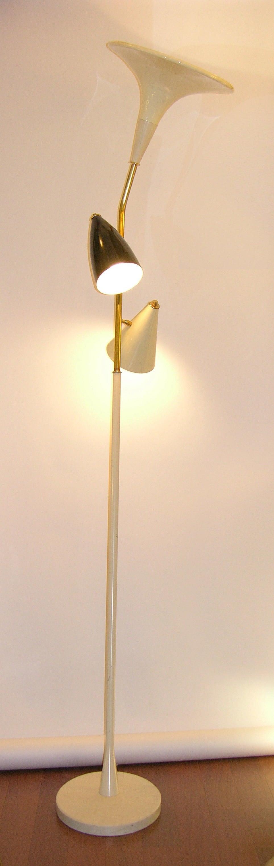 Metal 1960s Italian Black and Ivory White Modern Floor Lamp in the Style of Stilnovo For Sale