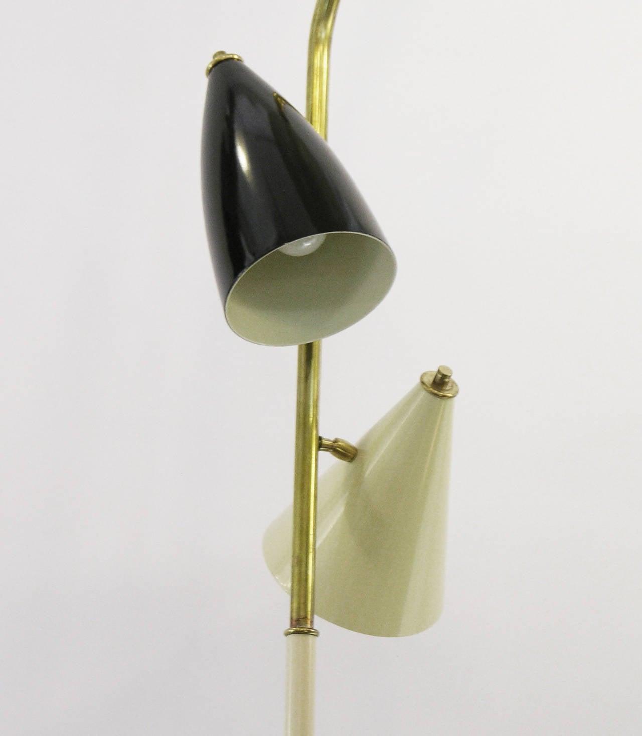 Mid-Century Modern 1960s Italian Black and Ivory White Modern Floor Lamp in the Style of Stilnovo For Sale