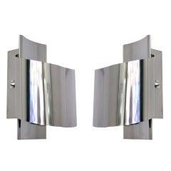 1970 Italian pair of modernist chrome wall lights