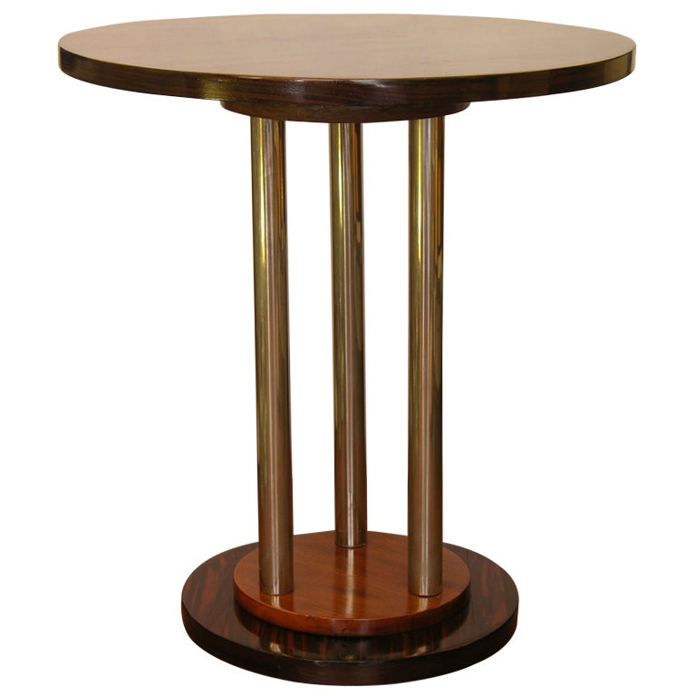 1920s Art Deco Round Side Table In Macassar And Walnut On Chromed Supports 1
