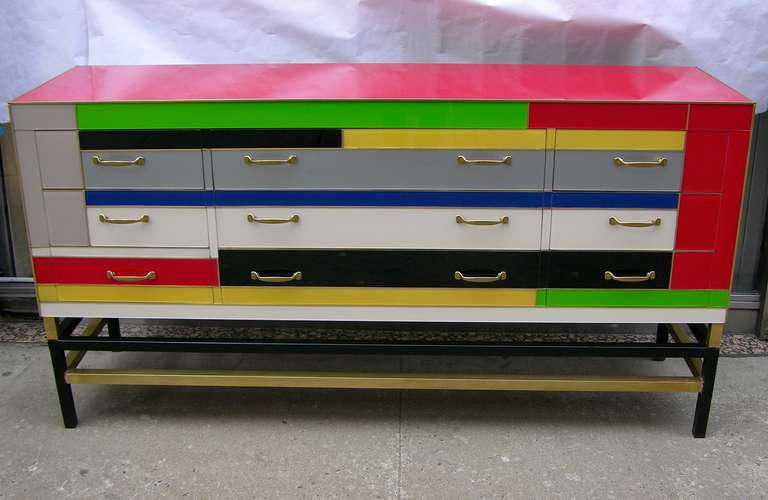 1970s Colorful Italian Murano Glass Sideboard Chest at 1stdibs