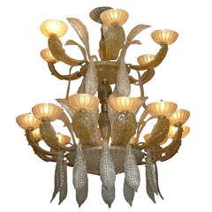 Aureliano Toso 1970s Vintage Italian Eighteen-Light Gold Murano Glass Chandelier