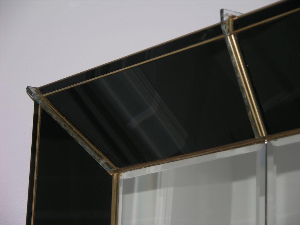 Amazing oversized black glass and brass venetian mirror at for Black venetian mirror
