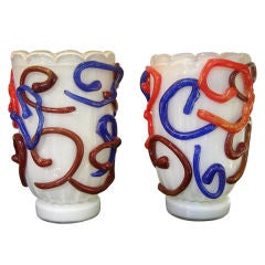 Vintage Pair of Modernist Murano Glass Vases by Costantini