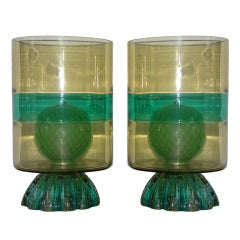 1960s Gold and Green unusual Venetian pair of lamps