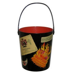 1950s Black Lacquered Ice Bucket with Vibrant Red Interior