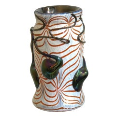 Sergio Rossi 1970s Modern Abstract Murano Glass Vase in White, Red and Black
