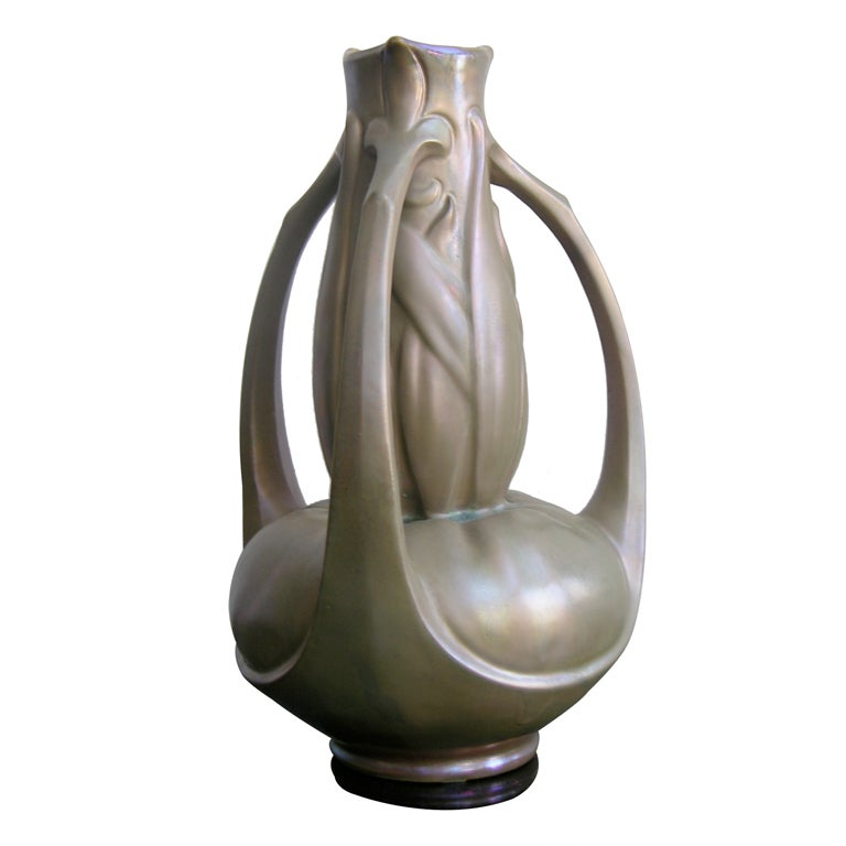 Exceptional French Art Nouveau Iridescent Vase by Catteau