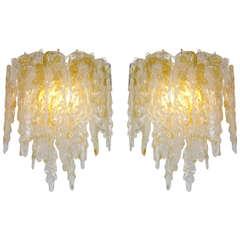 1970s Mazzega Striking Murano Glass, Pair of Icicle Sconces