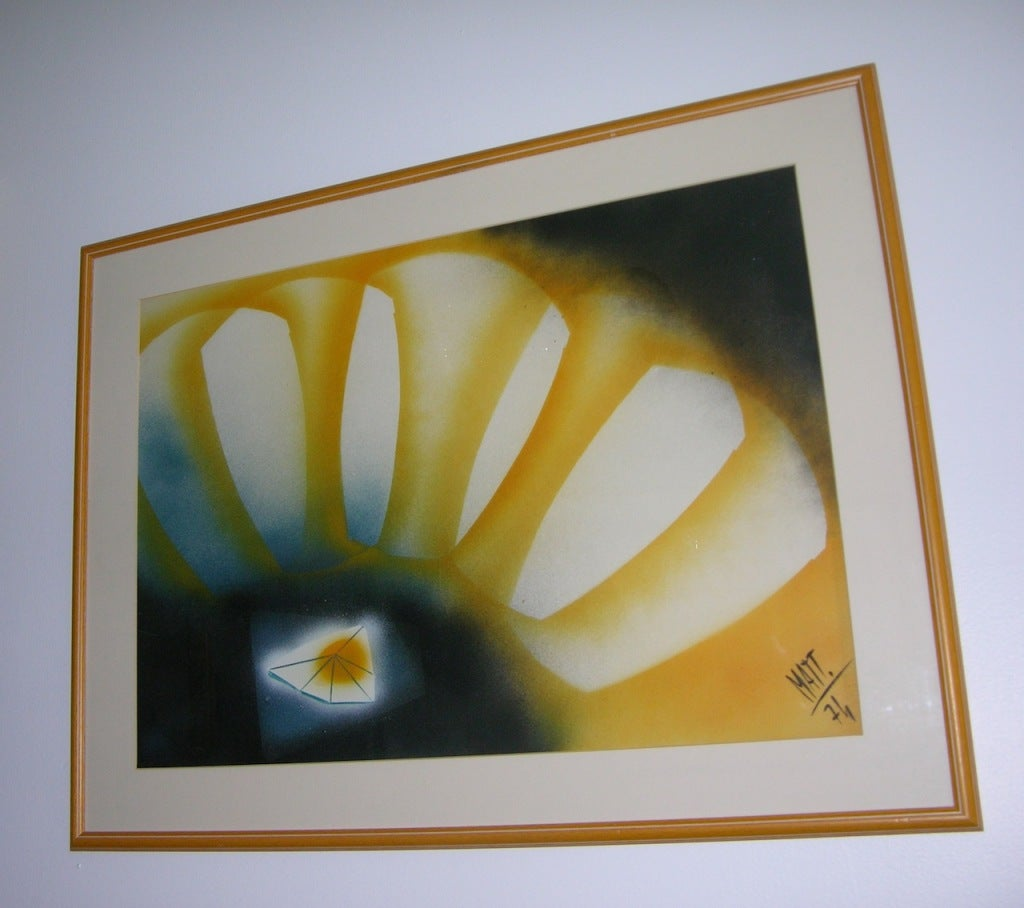 An abstract painting dated and signed by the Italian designer, inventor and painter Luciano Mattioli (1924-1994), a very versatile and prolific artist on the Italian and French design scene, designer for Philips and Grundig and exclusive designer in