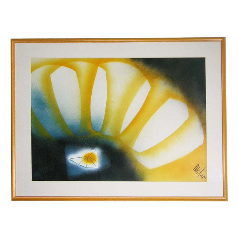 Vintage Abstract Painting by Luciano Mattioli For Sale