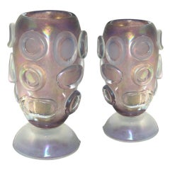 Vintage pair of lamps in iridescent amethyst Murano glass