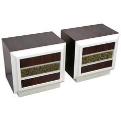 Luciano Frigerio 1960s Pair of Desire Series Side Tables with Bronze Inset