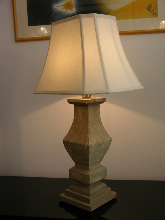 Carved rustic wooden table lamps of baluster shape, hand-painted with a shabby chic grey wash finish, with a lovely original patina, on a double stepped base. Sold without shades.