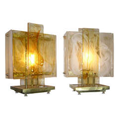 1980s Exceptional One of a Kind Pair of Sculptural Italian Design Lamps