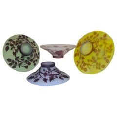 1970s Austrian Vintage Art Nouveau Style Color Glass Bowls with Flowers & Leaves