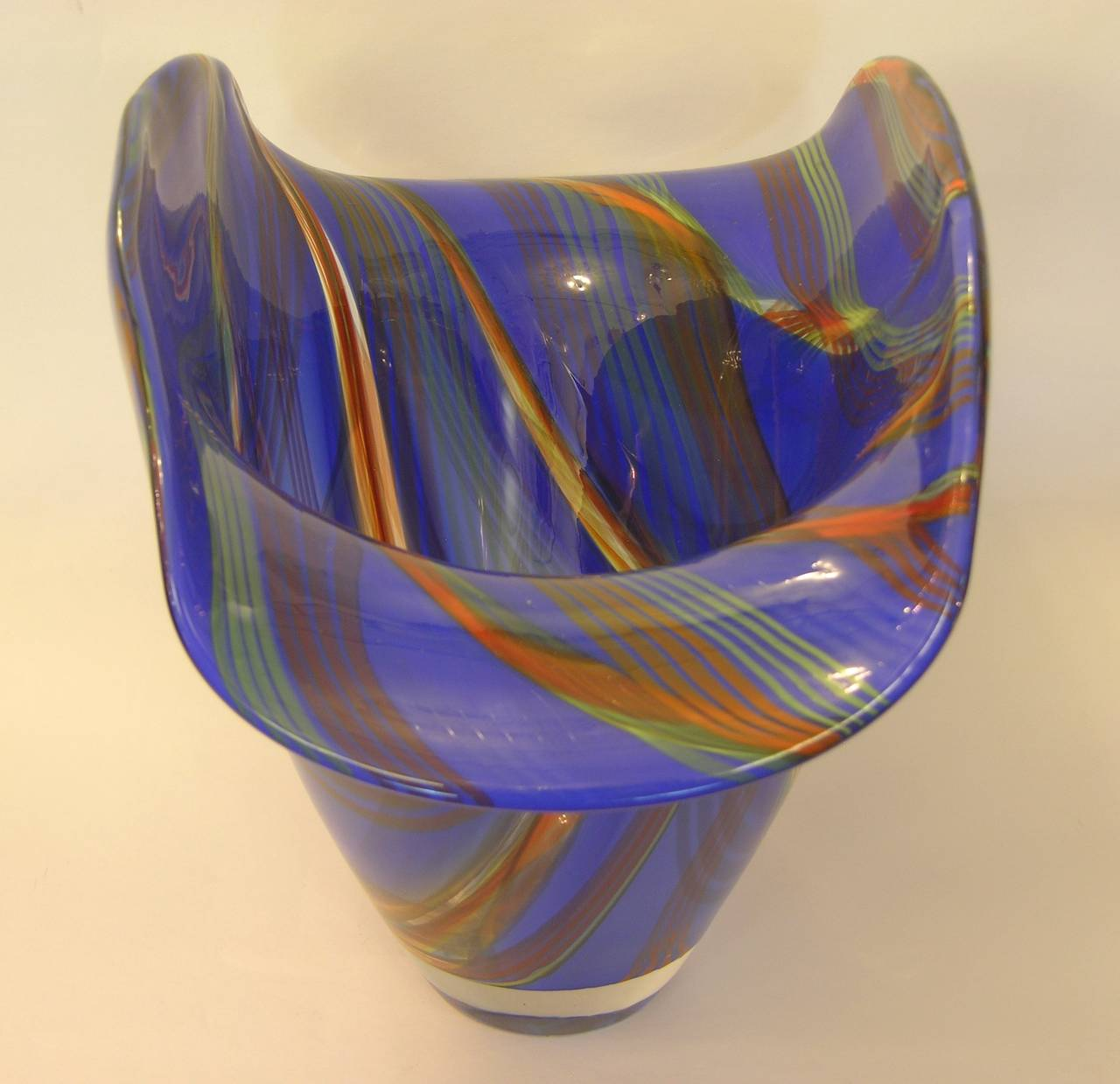 Dona Murano Glass Vase Bowl in Blue with Green Orange Red Murrine For Sale 3
