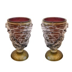 Splendid vintage pair of gold and amethyst Murano glass lamps