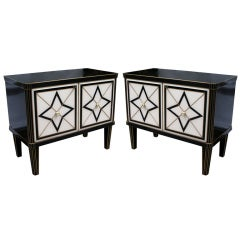 1980 Italian Design Pair of Black and White Cabinets/Side Tables