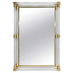 1960s Double-Framed Murano Glass Mirror Attributed to Barovier-Toso