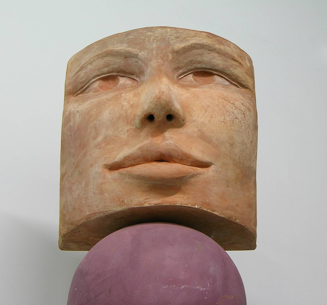 TOTEM Contemporary Italian Organic Pastel Enamel Figural Sculpture in Terracotta In New Condition For Sale In New York, NY