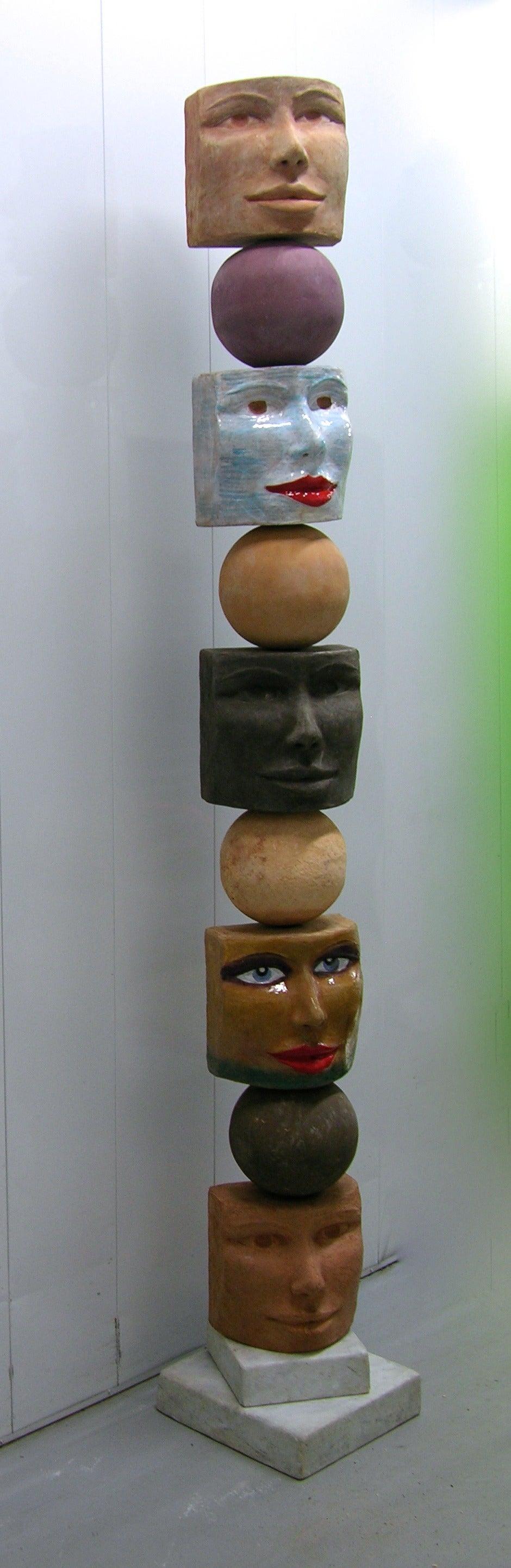 TOTEM Contemporary Italian Organic Pastel Enamel Figural Sculpture in Terracotta For Sale 4
