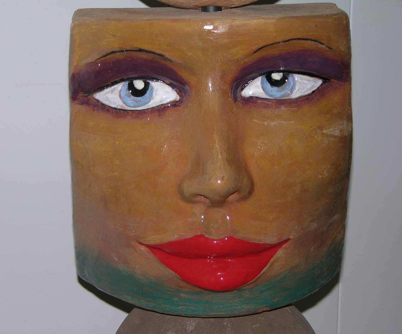 Enameled TOTEM Contemporary Italian Organic Pastel Enamel Figural Sculpture in Terracotta For Sale