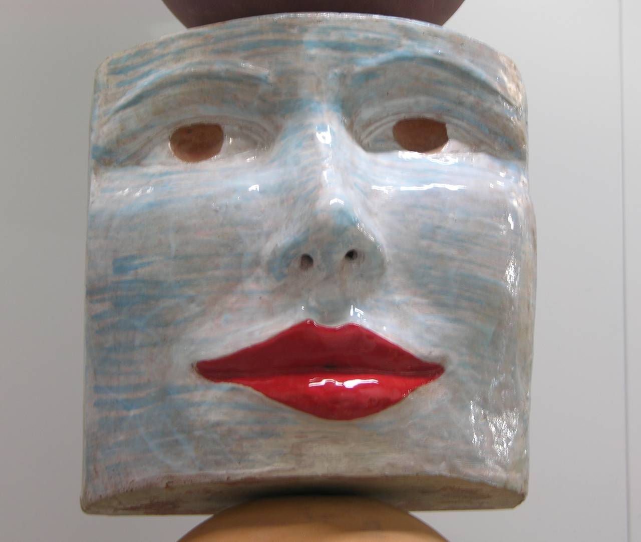 Modern TOTEM Contemporary Italian Organic Pastel Enamel Figural Sculpture in Terracotta For Sale