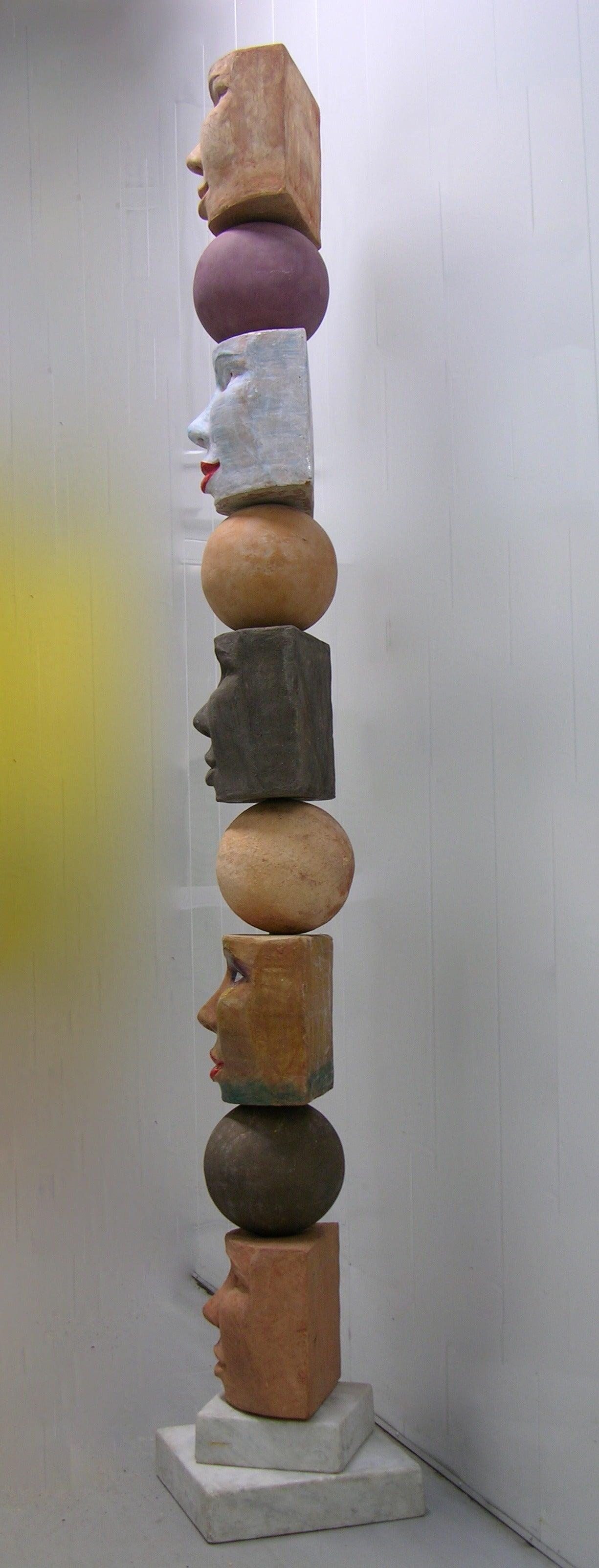 TOTEM Contemporary Italian Organic Pastel Enamel Figural Sculpture in Terracotta For Sale 1