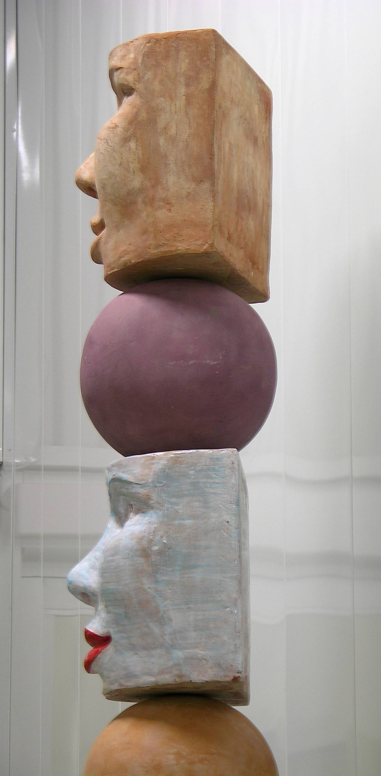 TOTEM Contemporary Italian Organic Pastel Enamel Figural Sculpture in Terracotta For Sale 3