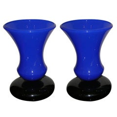 Unusual Vintage Pair of Blue Murano Glass Lamps