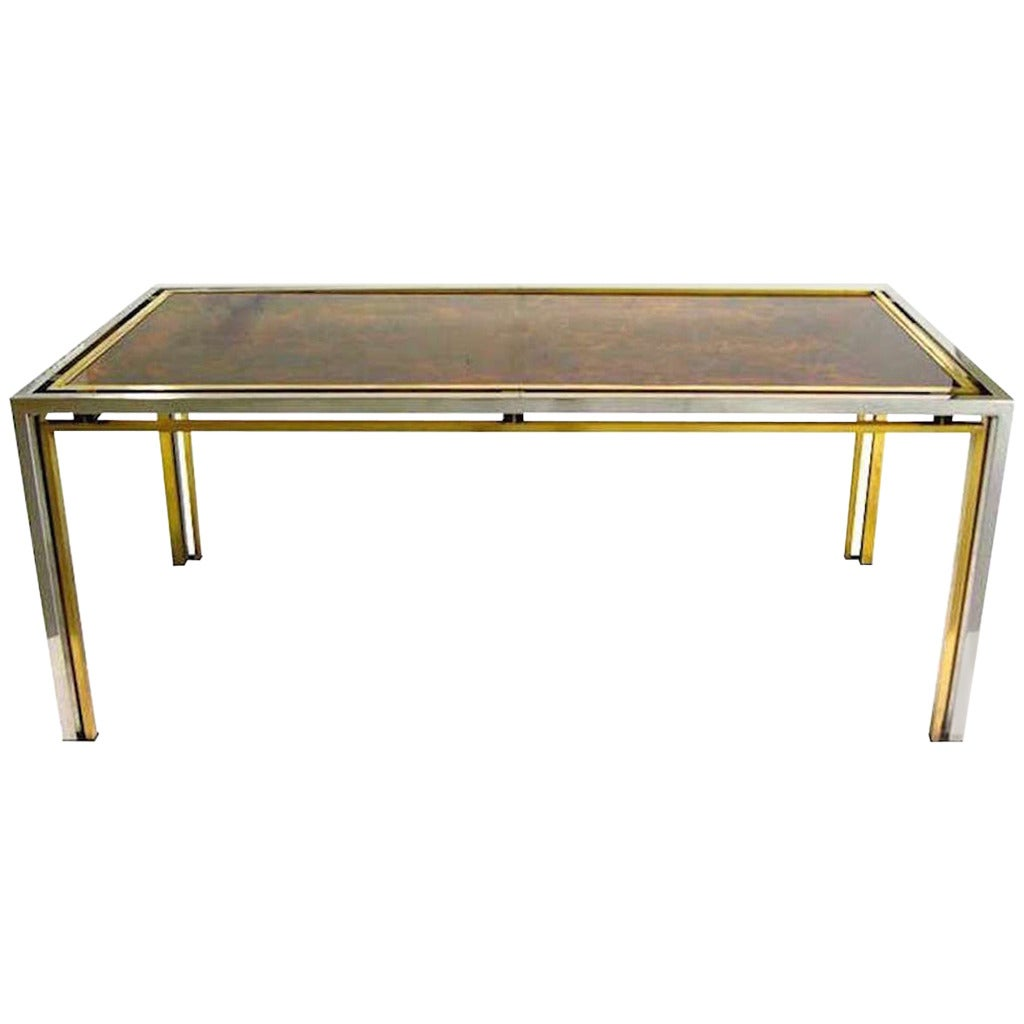 romeo rega 1970s brass and nickel center dining table with gold leaf glass top for sale at 1stdibs. Black Bedroom Furniture Sets. Home Design Ideas