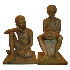 1930s French Antique Lifesize Children Sculptures in Bronze Finish