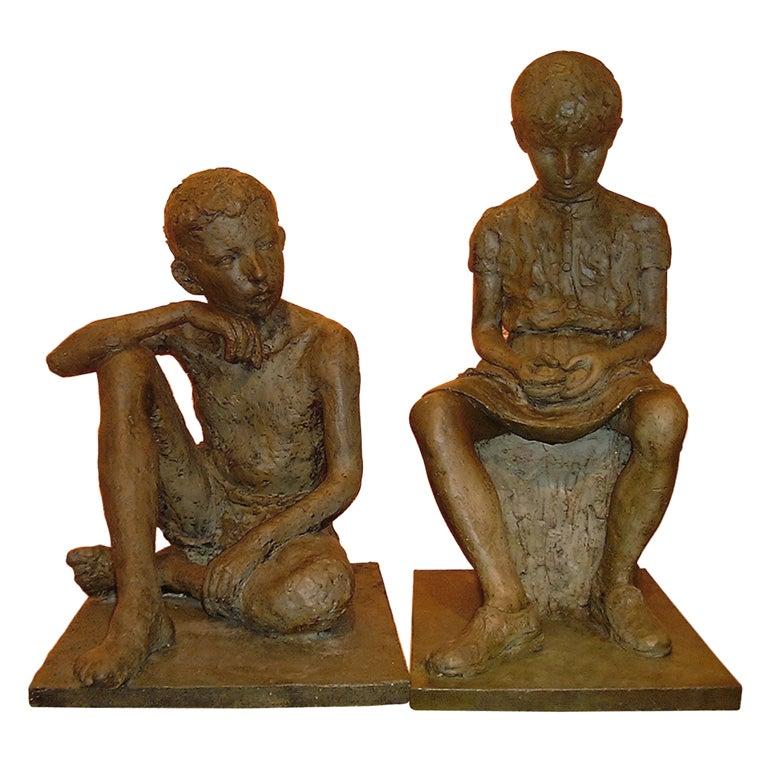 1930s French Antique Lifesize Children Sculptures in Bronze Finish