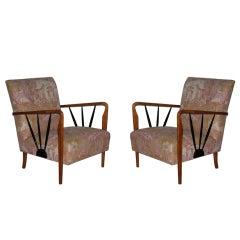 1950s Italian Design Pair of Armchairs with Garden Motif Fabric