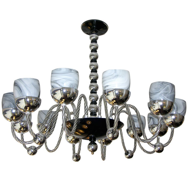 1950s One of a Kind Chromed and Black 12 Lights Murano Glass Chandelier