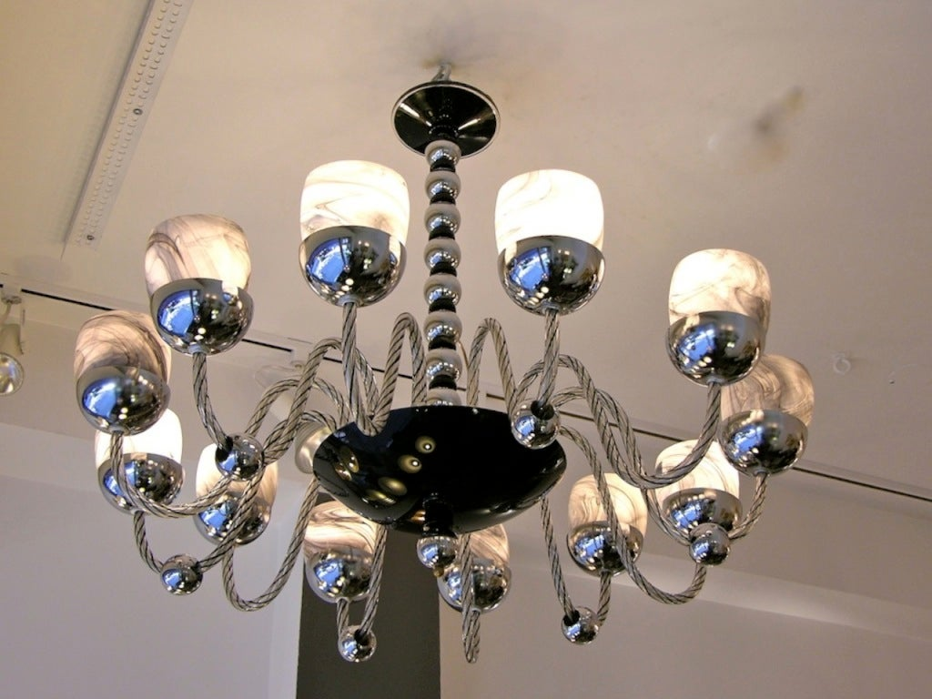 Mid-20th Century 1950s One of a Kind Chromed and Black 12 Lights Murano Glass Chandelier