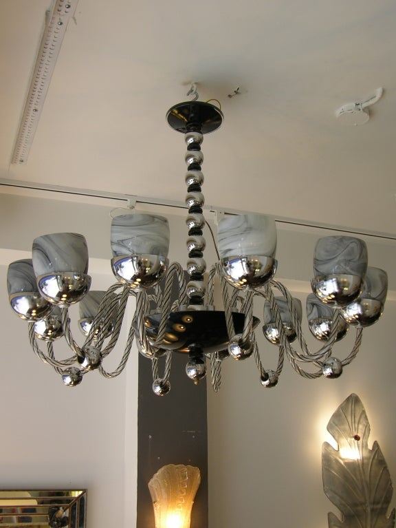 1950s One of a Kind Chromed and Black 12 Lights Murano Glass Chandelier 2