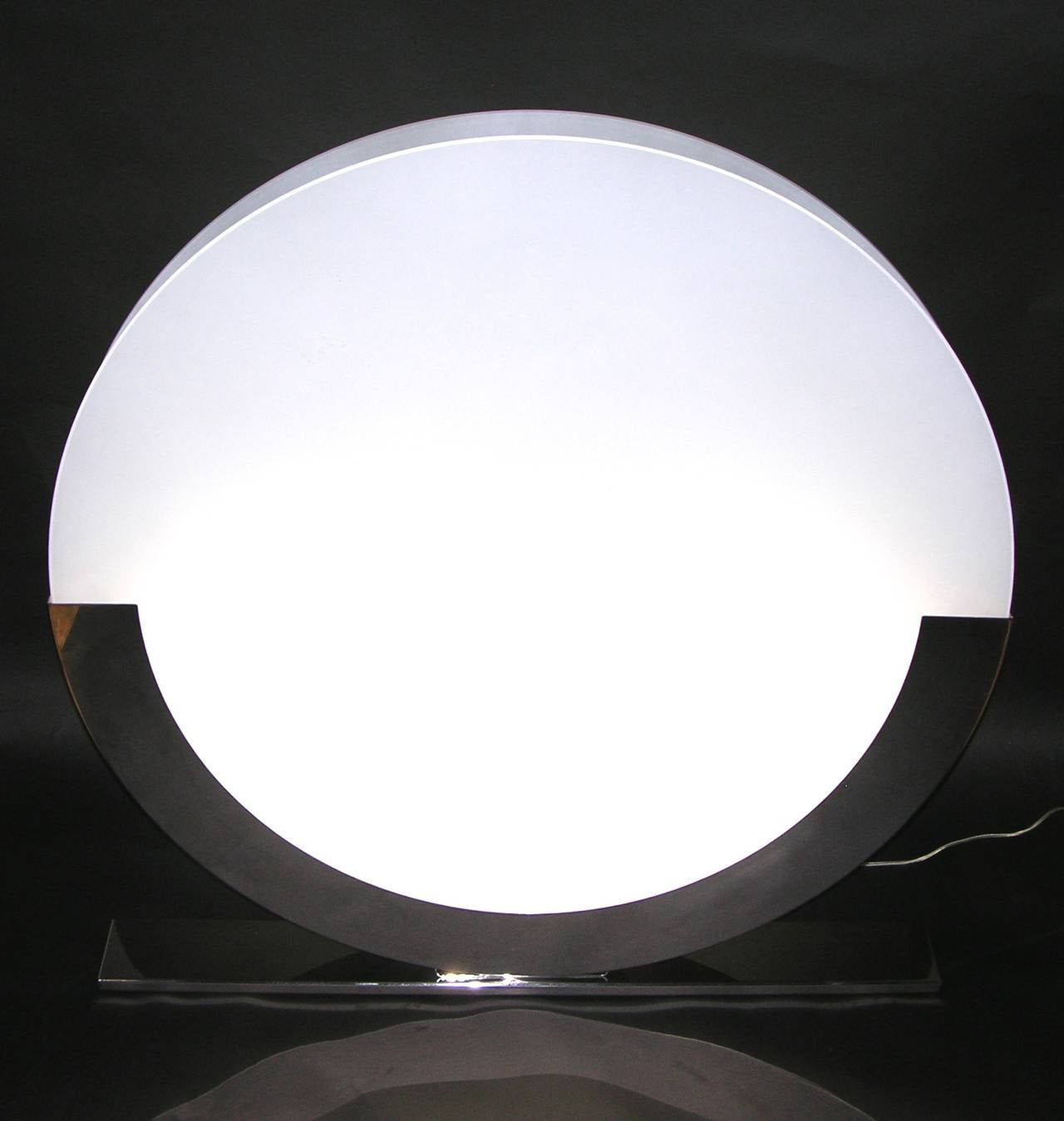 Monumental italian design pair of white and chrome round floor or monumental italian design pair of white and chrome round floor or table lamps 2 geotapseo Images