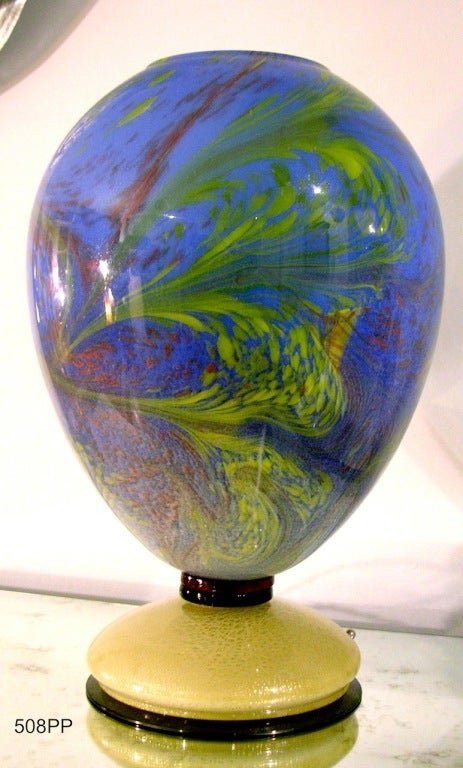Hand-Crafted 1960s Rare Vintage Oval Gold Blue Green Murano Glass Lamp For Sale