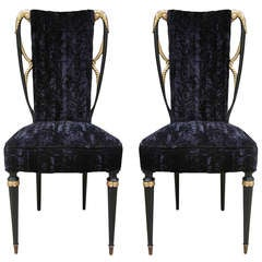 Late 1930s Glamourous Italian Pair of Chairs in Black Silk and Velvet