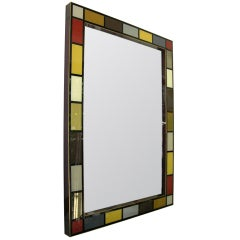 Exclusive Italian Colored Glass Mirror, one of a pair