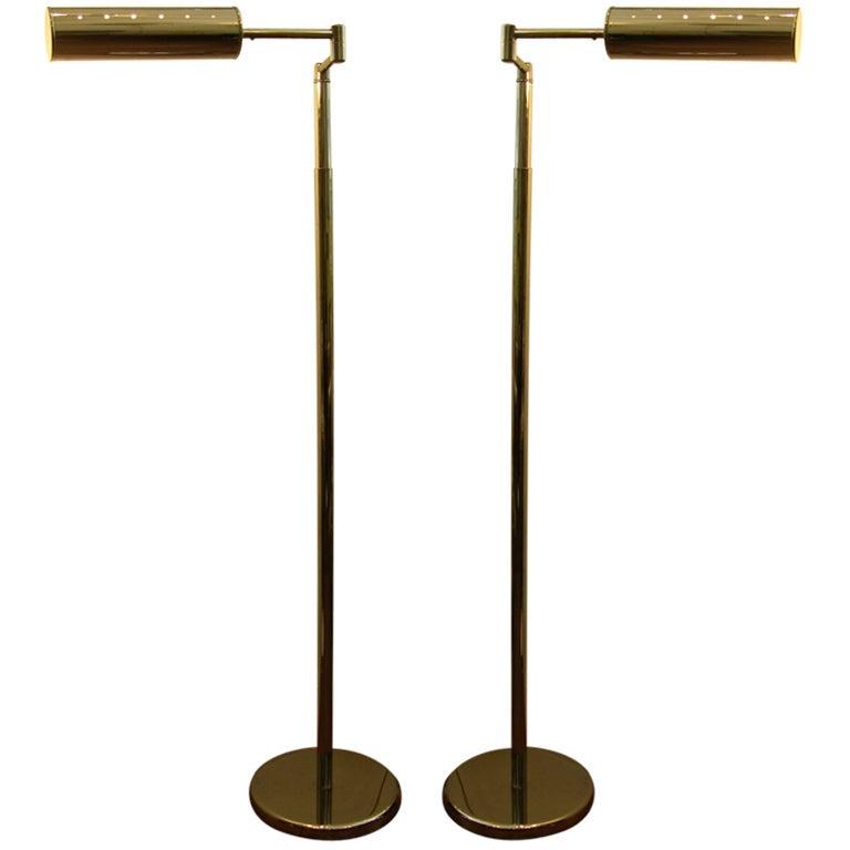 Vintage Pair Of Chromed Adjustable Von Nessen Floor Lamps