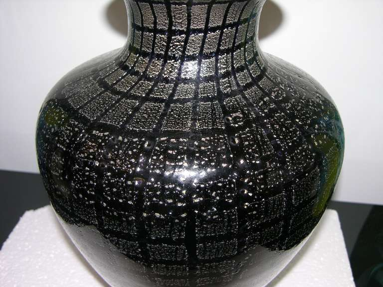 Italian VeArt 1960s Pair of Black Glass Lamps with Speckles For Sale