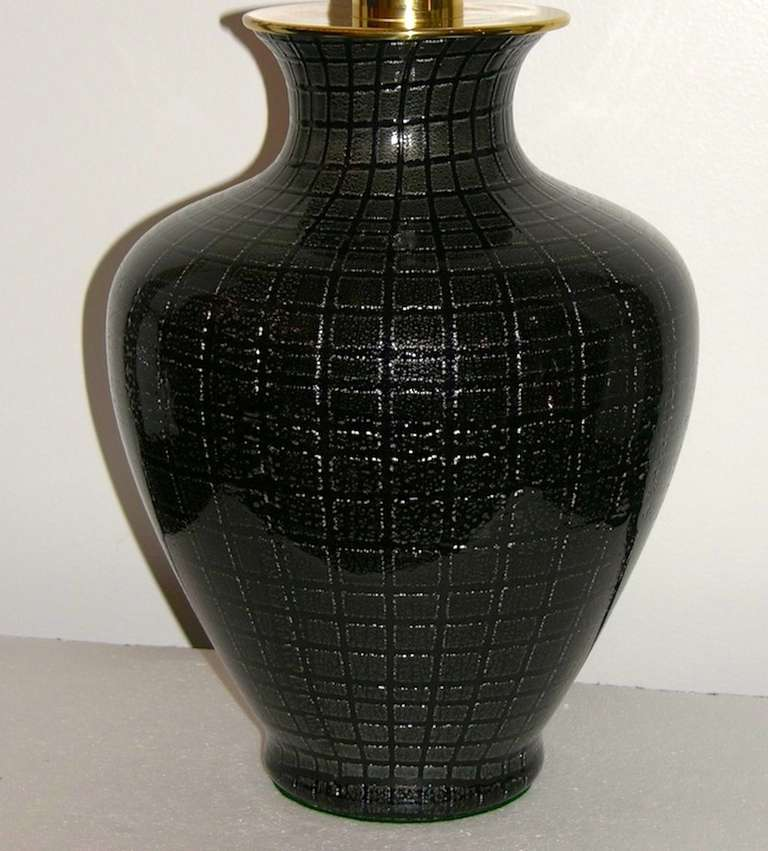 VeArt 1960s Pair of Black Glass Lamps with Speckles For Sale 2