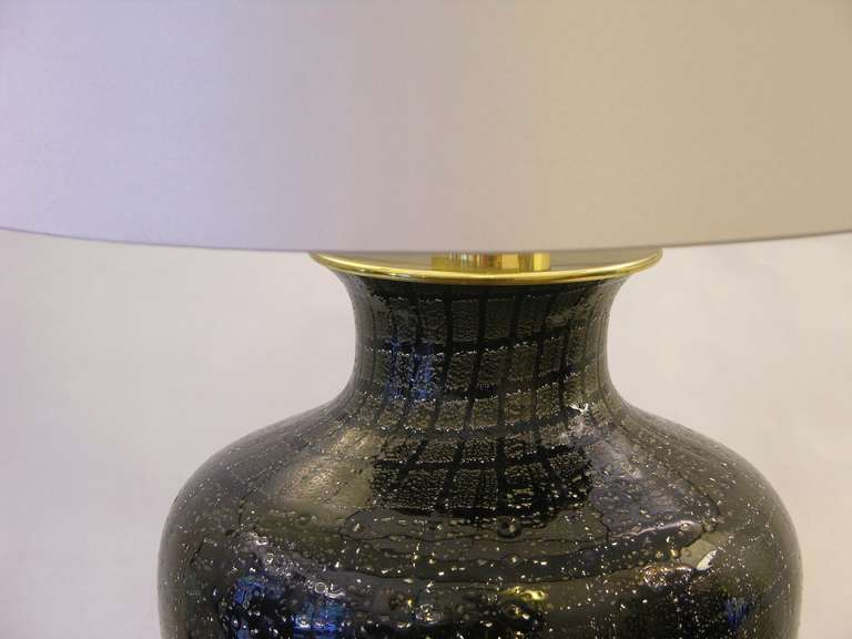 VeArt 1960s Pair of Black Glass Lamps with Speckles In Excellent Condition For Sale In New York, NY
