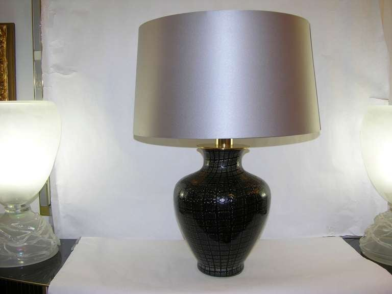 A pair of Italian lamps commissioned to VeArt by Pauly & C. (VeArt-Venini and Pauly & C. labels), in black blown Murano glass worked with the highest quality of technique called avventurina: speckles of copper in the glass and in this case silver