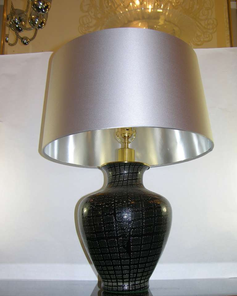 Mid-20th Century VeArt 1960s Pair of Black Glass Lamps with Speckles For Sale