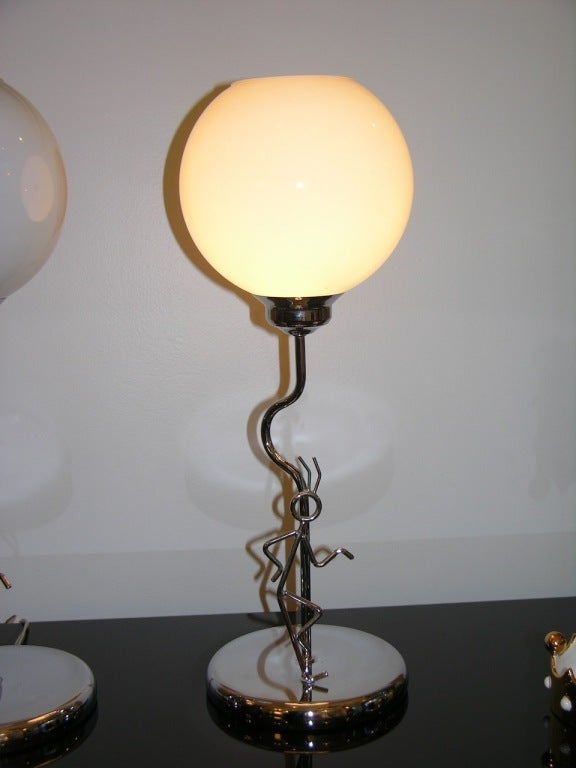 Very Fun Vintage Pair Of Chromed Lamps At 1stdibs